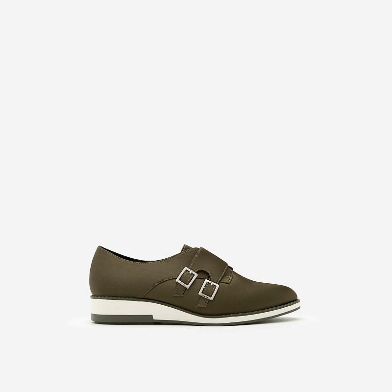 Giày Sneaker Satin Phối Khóa Cài Kiểu Belt – Màu Xanh Rêu – SNK 0009