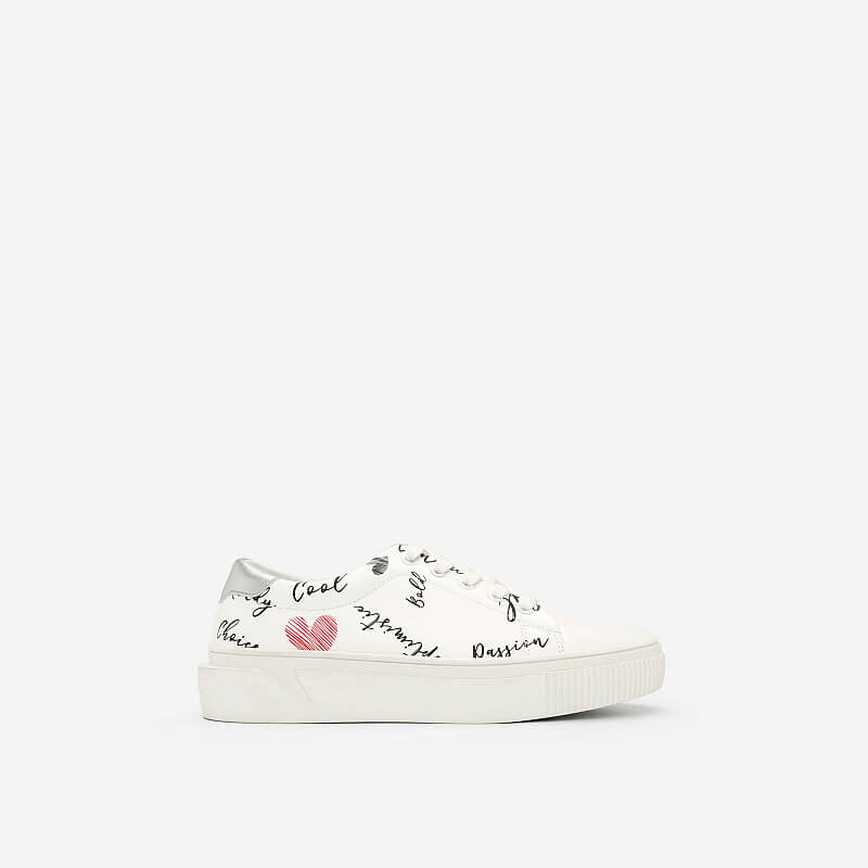 Giày Sneaker In Họa Tiết – SNK 0020 – Màu Trắng