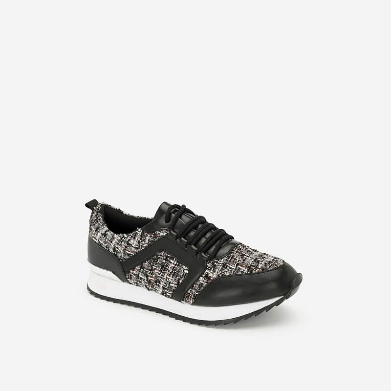 Giày Sneaker Vải Tweed – SNK 0027 – Màu Đen