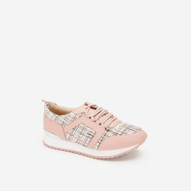 Giày Sneaker Vải Tweed – SNK 0027 – Màu Hồng