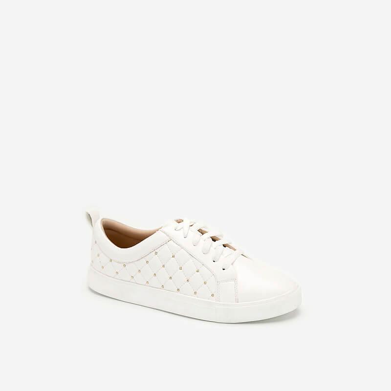 Giày Sneaker Chần Bông Đính Kim Loại – SNK 0026 – Màu Trắng