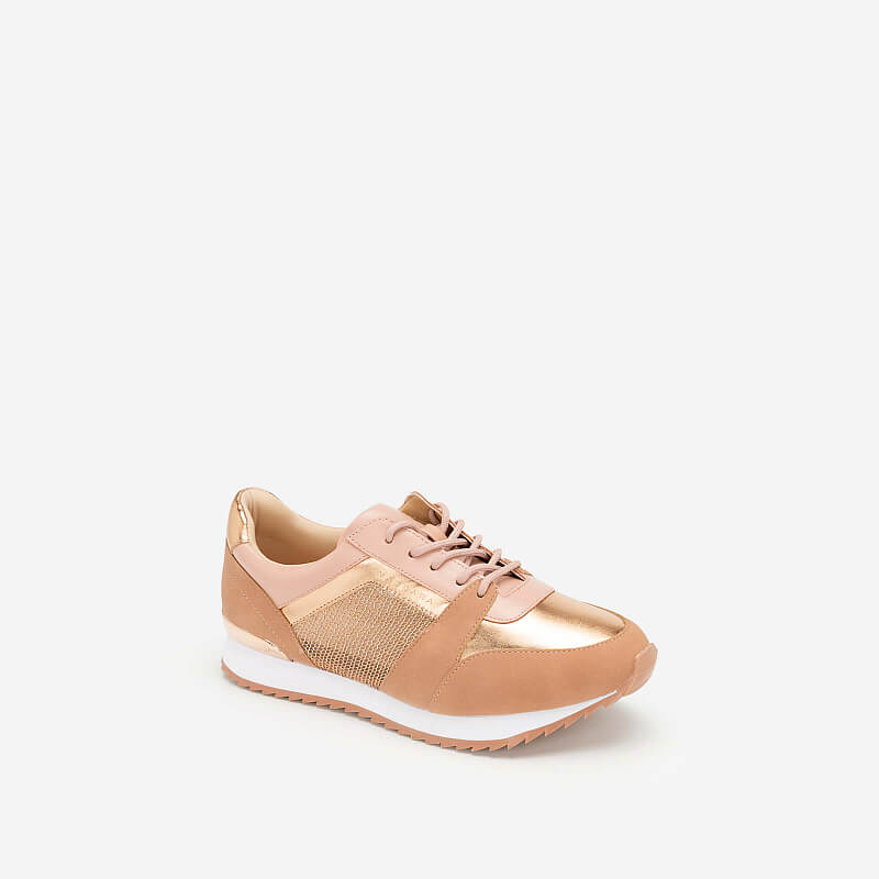 Giày Sneaker Phối Metallic Đan Lưới – SNK 0029 – Màu Hồng