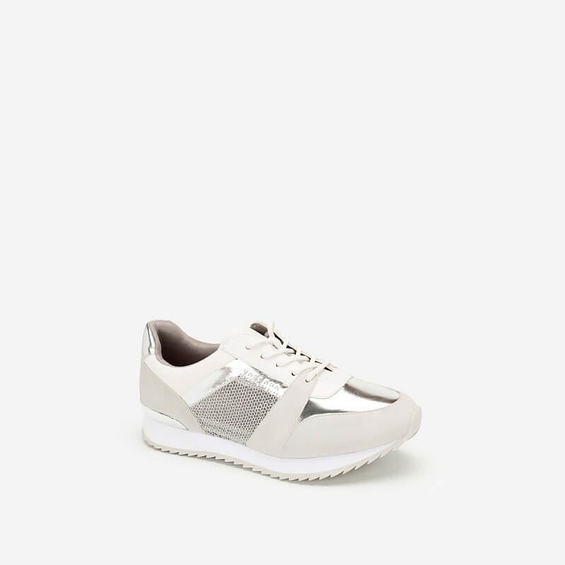 Giày Sneaker Phối Metallic Đan Lưới – SNK 0029 – Màu Trắng