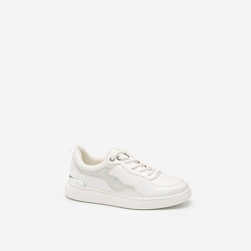 Giày Sneaker Gót Đính Metallic Phối Da Hologram – SNK 0038 – Màu Trắng