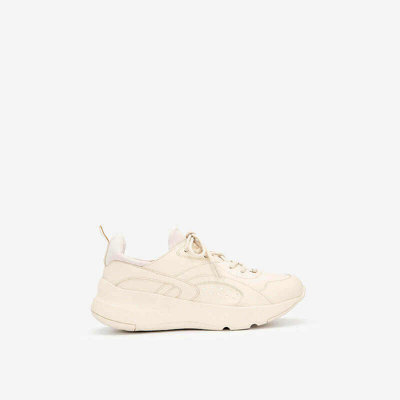 Giày Sneaker Viền Chỉ Nối Cổ Co Giãn – SNK 0036 – Màu Be